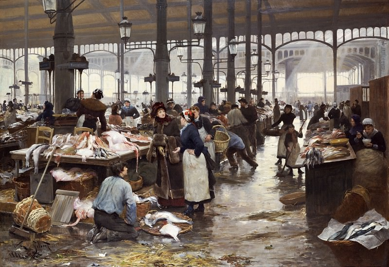 Рыбный зал на Центральном рынке, 1881. Виктор Габриель Жильбер