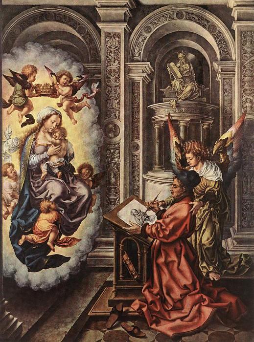 Св. Лука, рисующий Мадонну, 1520-25. Мабюз Ян Госсарт