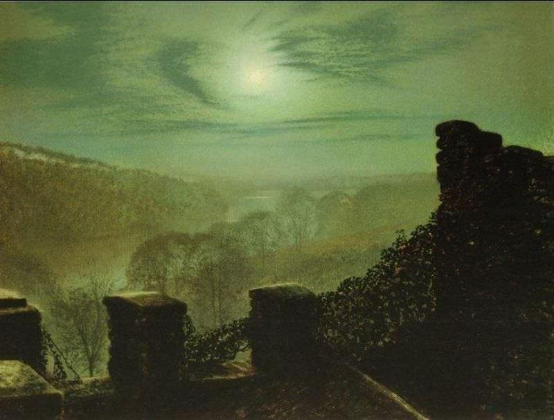 Полная луна за перистым облаком - вид с зубчатой стены замка в парке Раундхэй. Джон Эткинсон Гримшоу