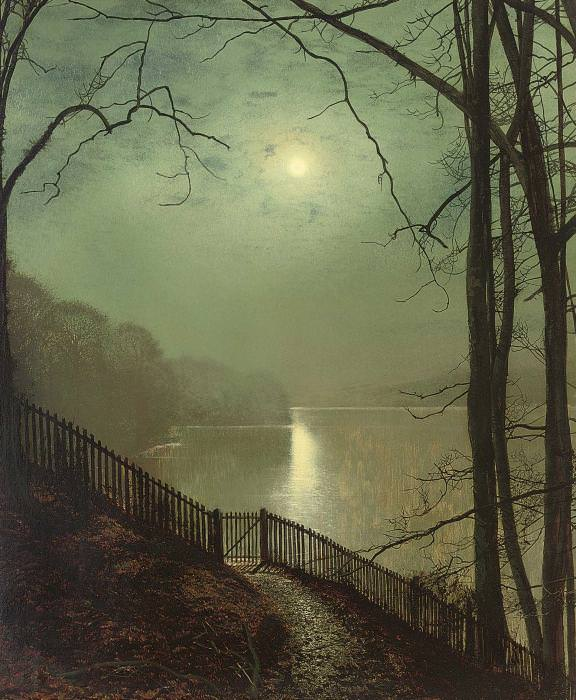 Луна над озером в Раундхэй-парке, Лидс. Джон Эткинсон Гримшоу