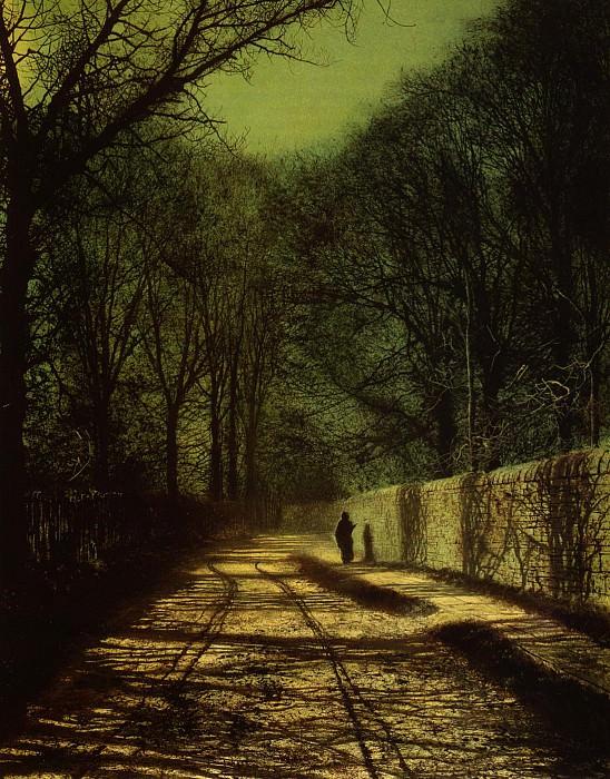Тени деревьев на стене парка Раундхэй, Лидс. Джон Эткинсон Гримшоу