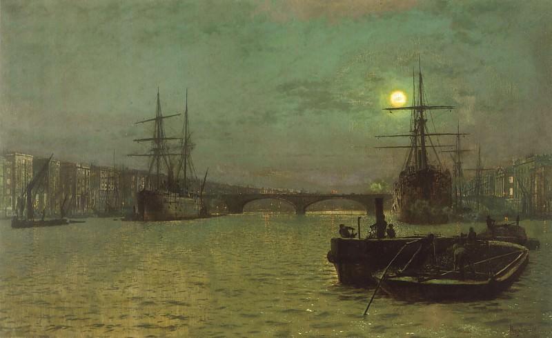 Лондонский мост - половинный прилив. Джон Эткинсон Гримшоу