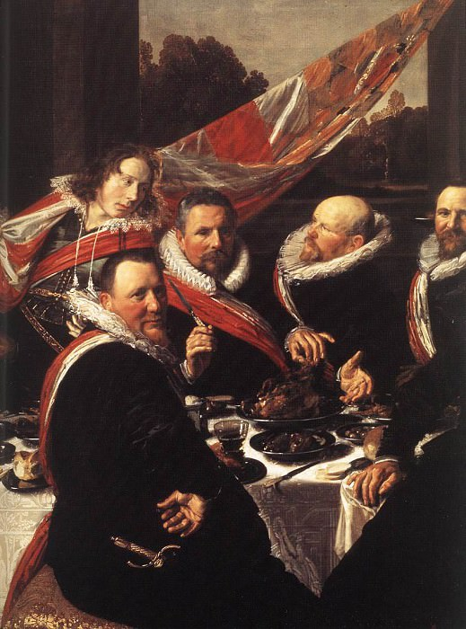 Banquet of the Officers of the St George Civic Guard detail. Frans Hals