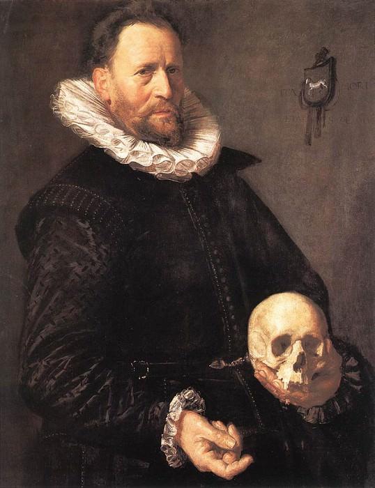 Portrait of a Man Holding a Skull. Frans Hals