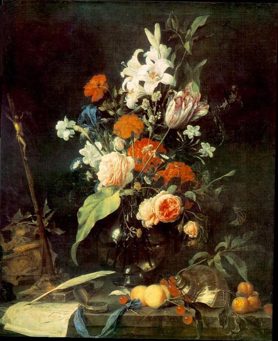 Цветочный букет в стеклянной вазе, распятие и мёртвая голова.. Ян Давидс де Хем