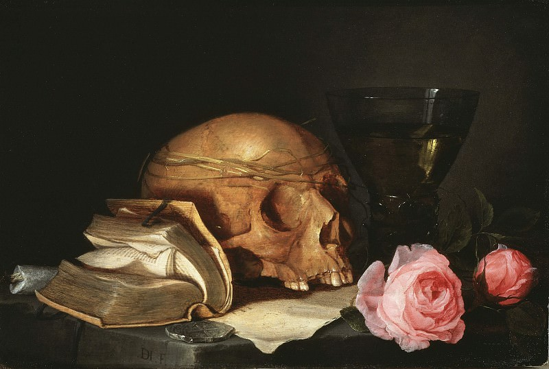 A Vanitas Still-Life with a Skull, a Book and Roses. Jan Davidsz De Heem