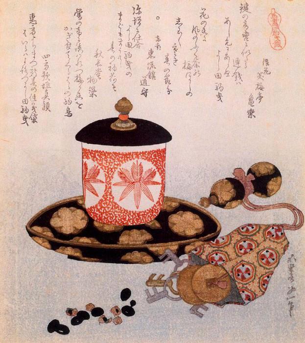 Суримоно с чайными принадлежностями. Хокусай