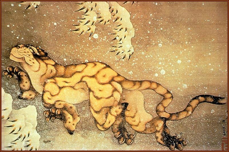 Tiger(woodblock1840). Hokusai