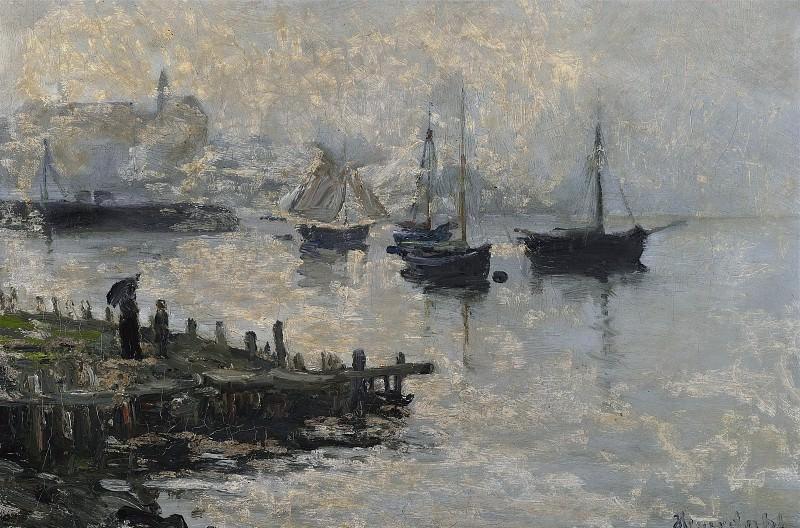 Вид на гавань с лодками на якоре в туманный день. Ханс Олаф Хейердал
