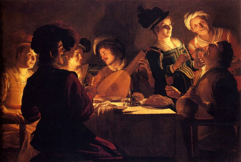 Supper With The Minstrel And His Lute. Gerard van Honthorst