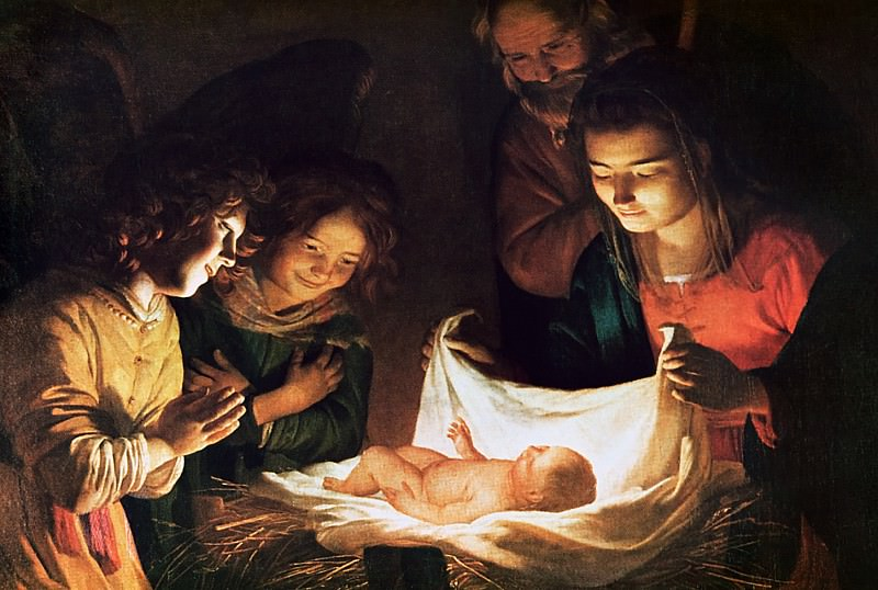 Adoration of the baby. Gerard van Honthorst