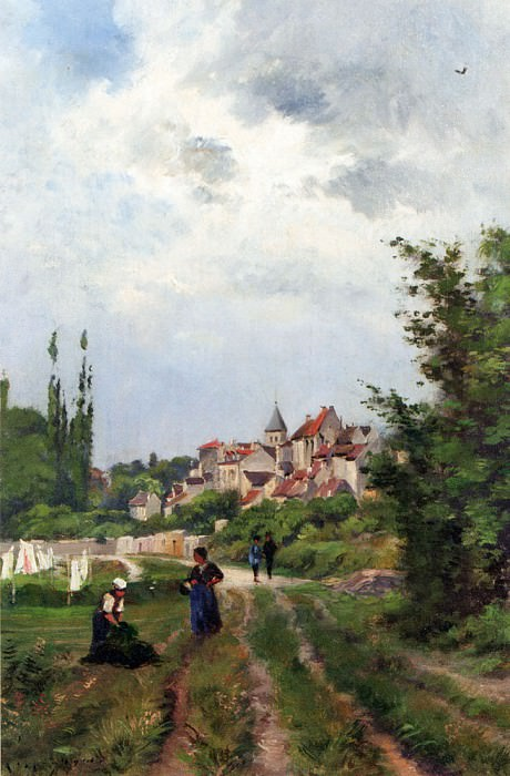 Прачки возле колеи и деревня на заднем плане. Анри Жозеф Арпиньи