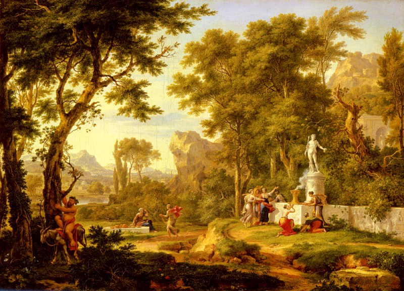 A Classical Landscape With The Worship Of Bacchus. Jan Van Huysum