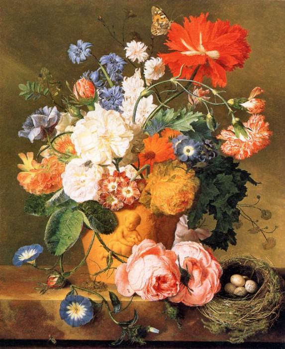Цветы в ваазе на опаленной солнцем земле. Ян ван Хёйсум