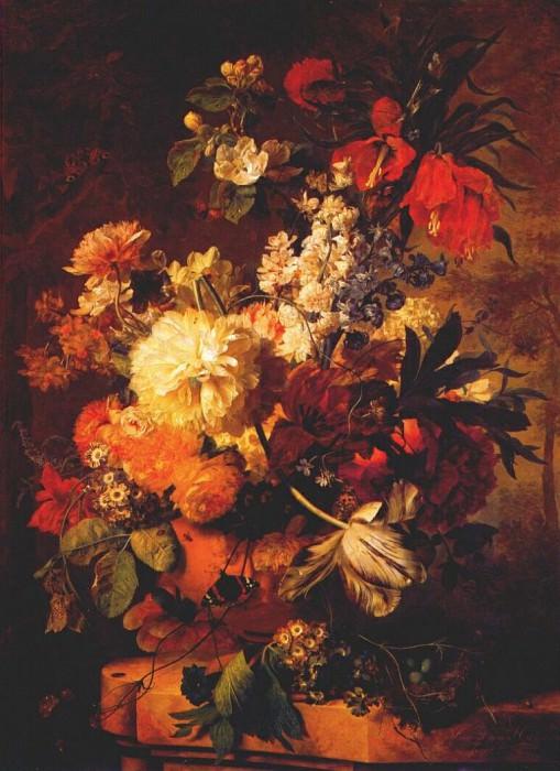 flowers on ledge in landscape 1726. Jan Van Huysum
