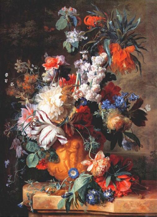 bouquet of flowers in urn 1724. Jan Van Huysum
