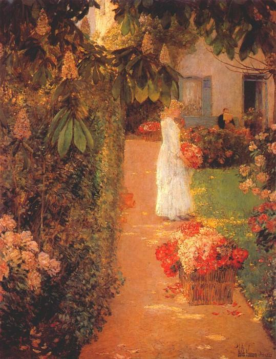 Собирание цветов во французском саду, 1888. Чайлд Фредерик Хассам