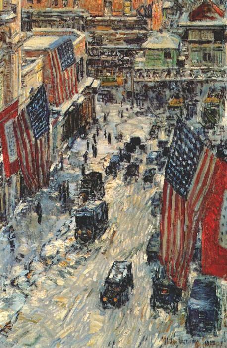 Флаги на 57-ой улице (зима 1918), 1918. Чайлд Фредерик Хассам