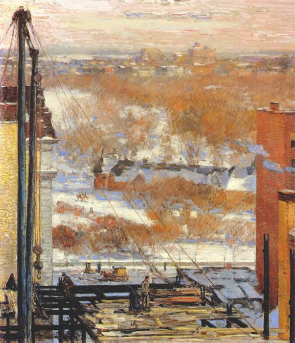 Лачуга и небоскреб, 1904. Чайлд Фредерик Хассам