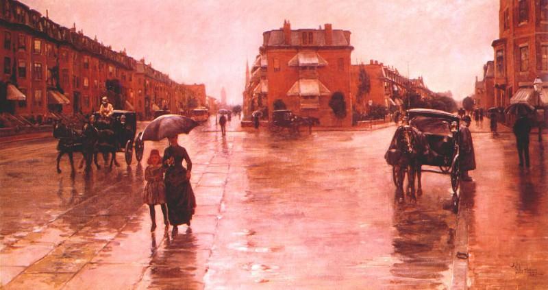 Дождливый день, Бостон, 1885. Чайлд Фредерик Хассам