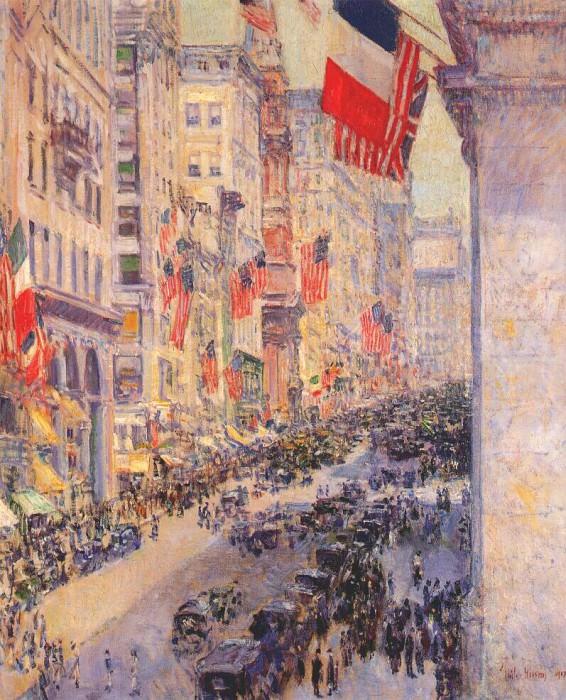 Вверх по авеню до 34-ой улицы, май 1917. Чайлд Фредерик Хассам