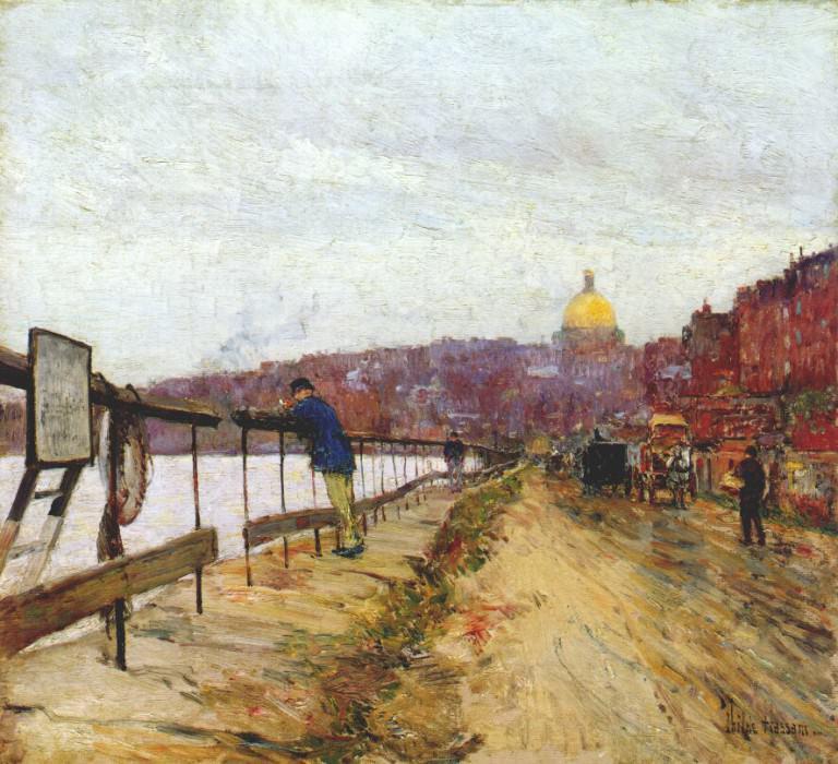 Река и световой маяк, ок.1892. Чайлд Фредерик Хассам