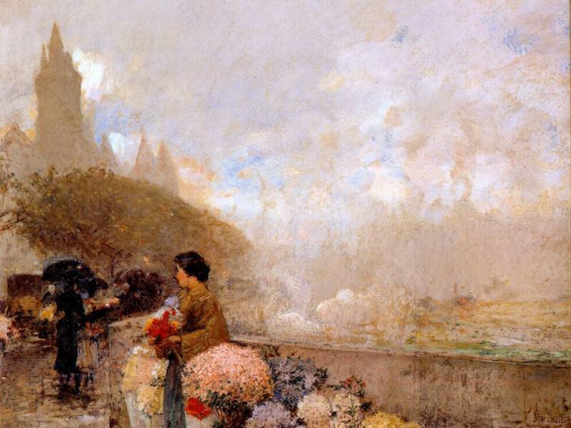 Продавщица цветов у Сены, Париж, 1889. Чайлд Фредерик Хассам