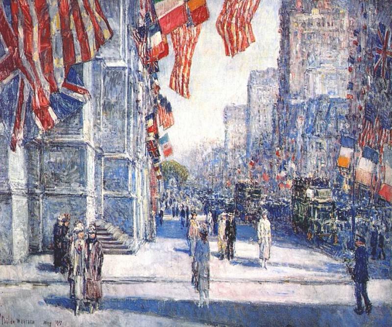 Раннее утро на авеню в мае 1917 г.. Чайлд Фредерик Хассам