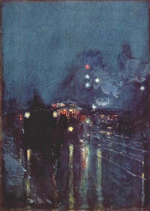 Ноктюрн, переход через железнодорожные пути, Чикаго, 1892-93. Чайлд Фредерик Хассам