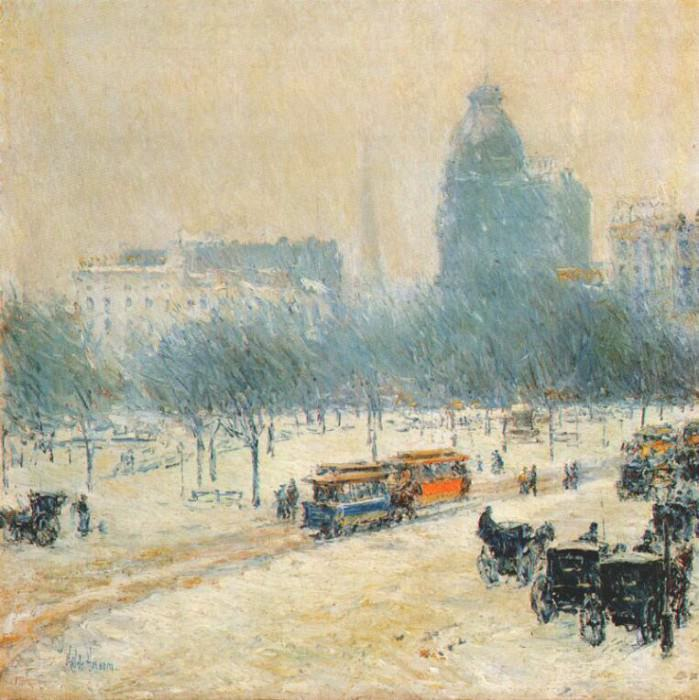 winter in union square c1892. Childe Frederick Hassam