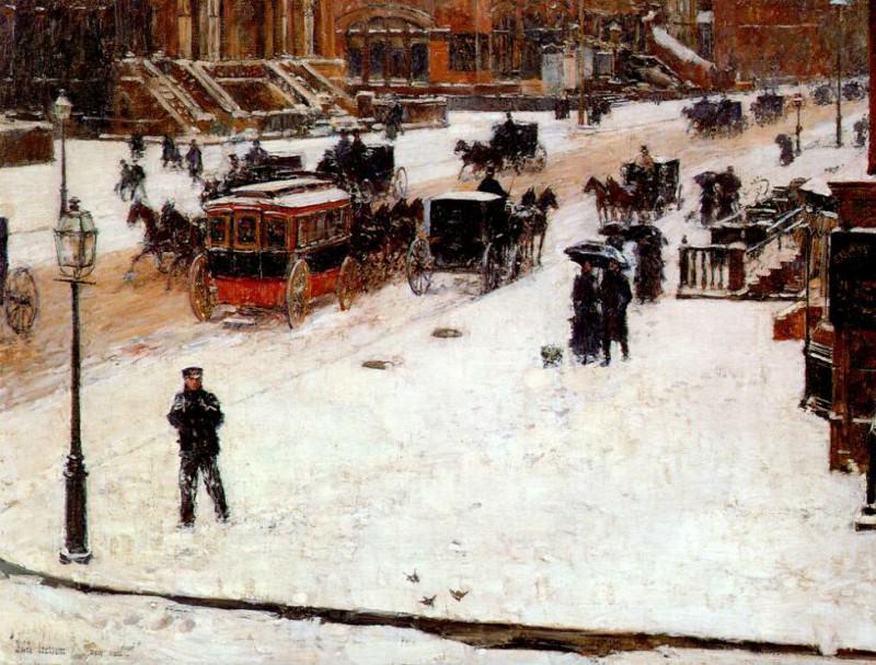 Пятая авеню зимой, ок.1890. Чайлд Фредерик Хассам