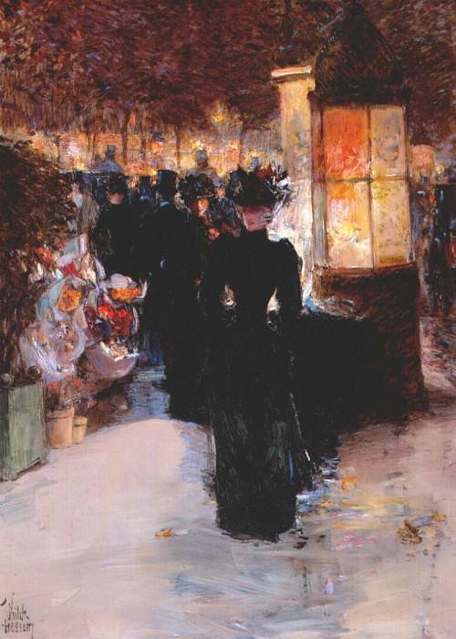 Парижский ноктюрн, ок.1889. Чайлд Фредерик Хассам