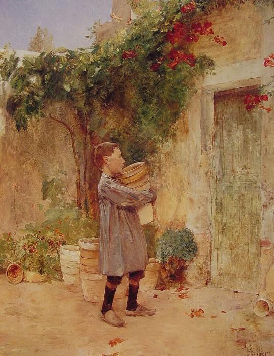 Мальчик с горшками для цветов. Чайлд Фредерик Хассам