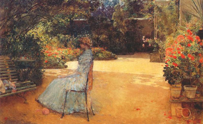 Жена художника в саду, Вилье-ле-Бель, 1889. Чайлд Фредерик Хассам