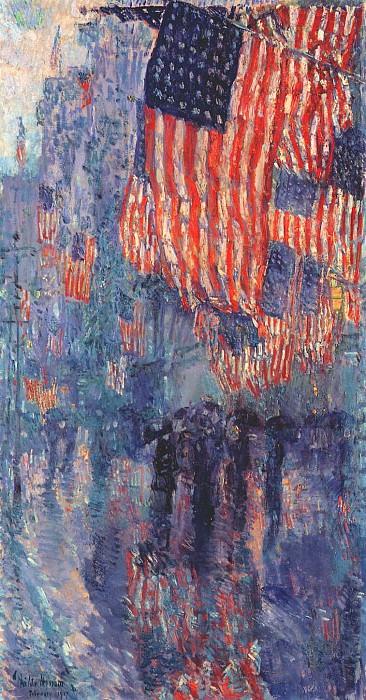 Авеню в дождь, 1917. Чайлд Фредерик Хассам