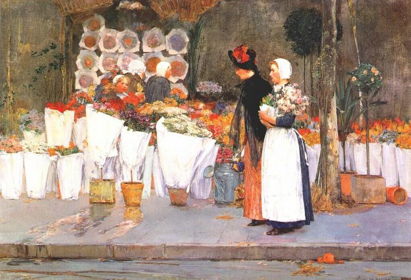 У торговца цветами, 1889. Чайлд Фредерик Хассам