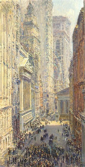 Нижняя часть Манхэттена (Брод-стрит и Уолл-стрит), 1907. Чайлд Фредерик Хассам