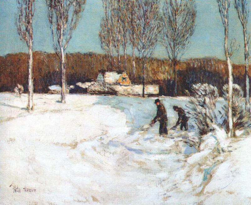 Уборка снега лопатами (Новая Англия), ок.1905. Чайлд Фредерик Хассам