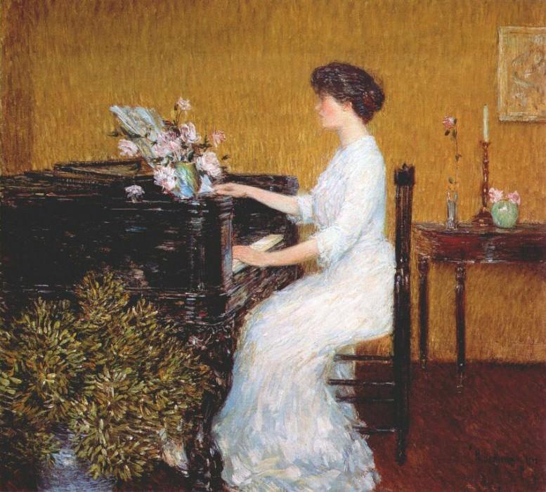 За пианино, 1908. Чайлд Фредерик Хассам