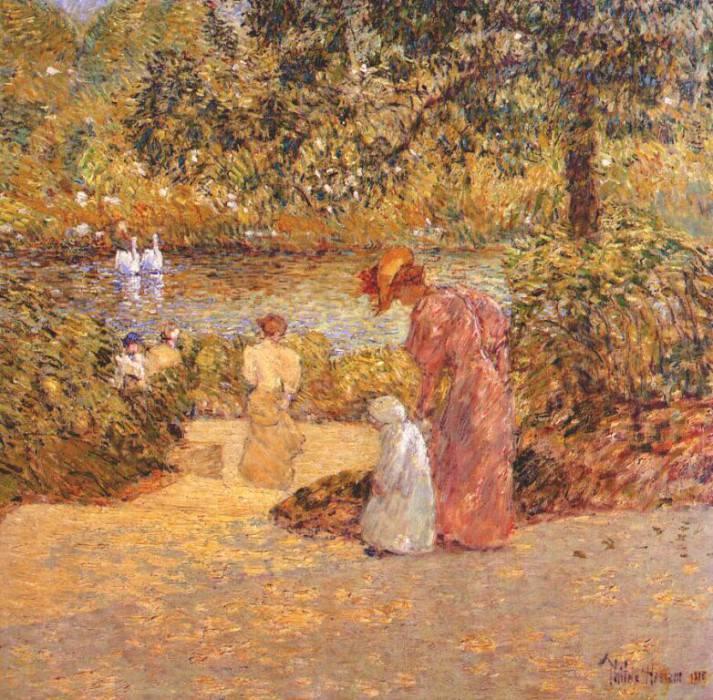Спускаясь по ступенькам (Центральный парк), 1895. Чайлд Фредерик Хассам