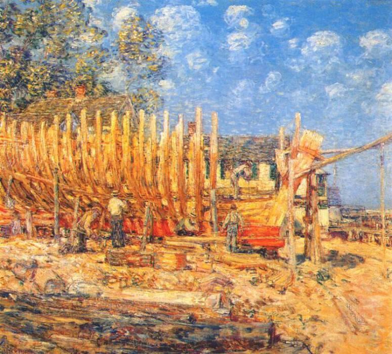 Постройка шхуны, Провинстаун, 1900. Чайлд Фредерик Хассам