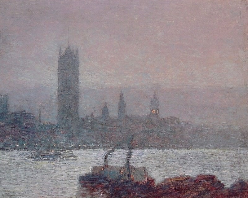 Houses of Parliament Early Evening. Childe Frederick Hassam
