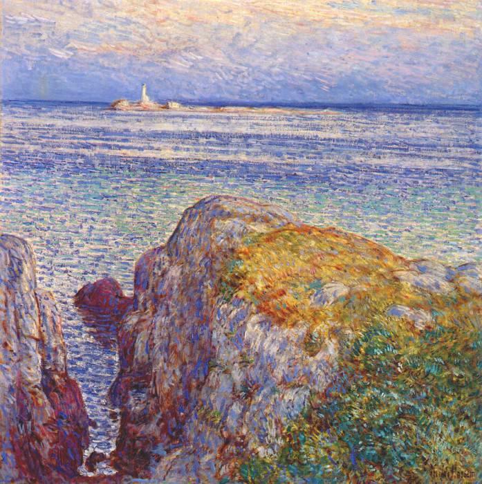 Маяк на белом острое (намывные острова на закате), 1899. Чайлд Фредерик Хассам