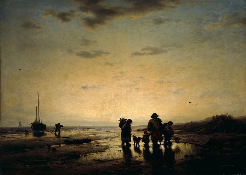 Beach in the evening light. Eduard Hildebrandt