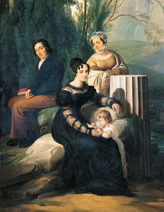Portrait of the family Stampa di Soncino. Francesco Hayez