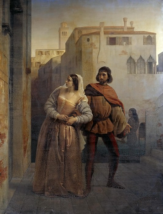 Flight of Bianca Capello from Venice. Francesco Hayez