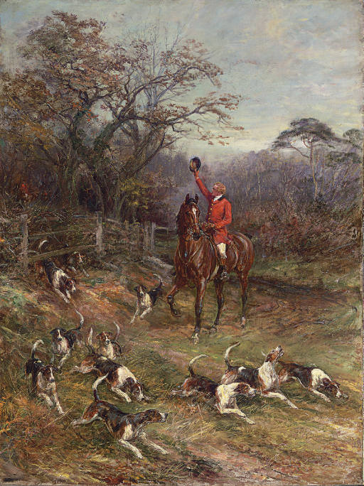 Hounds on the Scent leaving a Covert. Heywood Hardy
