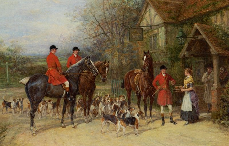 The Stirrup Cup Oil on Canvas huge. Heywood Hardy