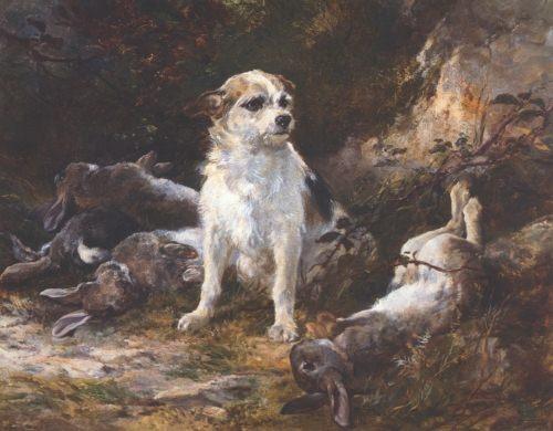 Terrier & Hares. Heywood Hardy