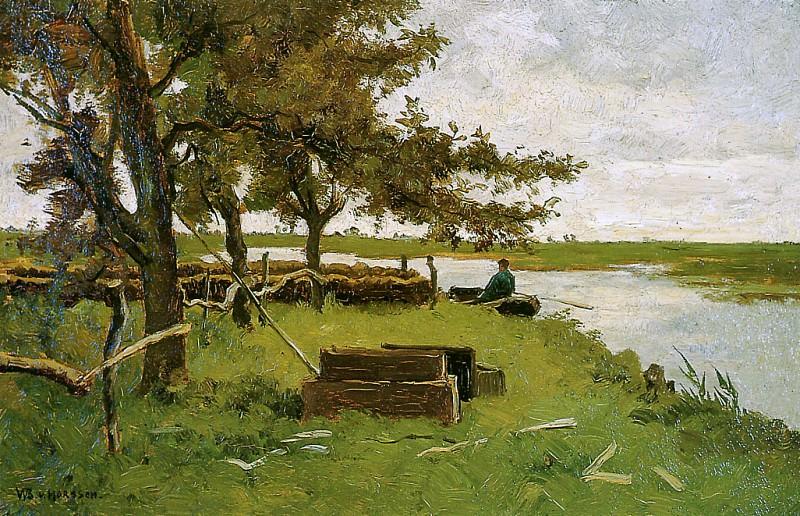 Horssen van Wijnand Fisher in a boat Sun. Van Horssen